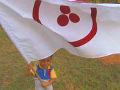 Boy holding the Banner of Peace